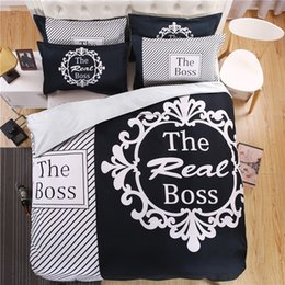Cuscino bianco nero moderno online-moderno bianco e nero vero capo biancheria da letto set copripiumino lenzuola federa king queen size biancheria da letto set 4 pezzi