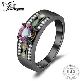 JewelryPalace Fashion Mystic Quartz Created Opal Band Ring 925 Sterling Silver Best Gift For Girlfriend Birthday Present