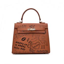 China Luxury handbags women bags designer PU leather OL office work bag  ladies Cartoon printing hand bed74d49b3