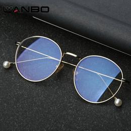 5ee20bc78fb LANBO Korea Small Pearl Leg Round Glasses Frame Anti Blue Ray Computer  Glasses Metal Eyeglasses Frame Goggles Brand 8709 korea eyeglasses deals