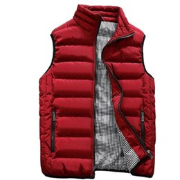 chaleco de los hombres de otoño invierno Rebajas 2018 nuevo chaleco rojo hombres otoño invierno chaleco sin mangas de algodón sólido chaleco con cremallera más el tamaño 5XL chaquetas cortas casuales