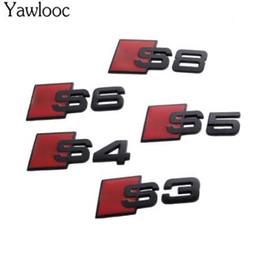 2019 badge audi noir YawlooC 3D métal Noir S3 S4 S5 S6 S8 SLINE Autocollant de queue de voiture Emblème Badge Logo style de voiture pour Audi Q3 Q5 Q7 B5 B6 C5 C6 badge audi noir pas cher