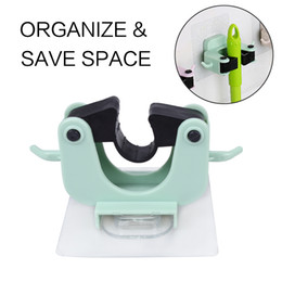 Wholesale organize tools - Self-adhensive Mop Holder Home Use Tool & Accessory on Wall for Organizing & Storage Frame Green Blue Color