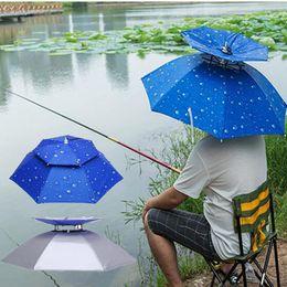 Wholesale uv umbrellas - 2 Colors Outdoor Foldable Umbrella Hat Double Deck Windproof Anti-UV Sun Protection Outdoor Raining Cap AAA383