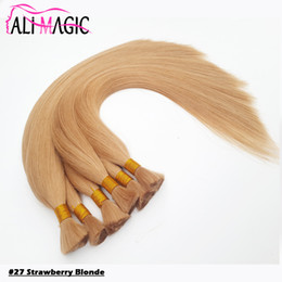 color de cabello 27 fresa rubio Rebajas Strawberry Blonde Human Bulk Hair para trenzar 18