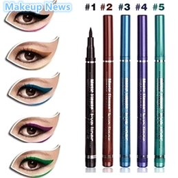 Deutschland 1 stücke 5 Farbe Schwarz Braun Blau Lila Grün Flüssigkeit Eyeliner Pen Wasserdicht Eyeliner Marke Make-Up Augen Kosmetik supplier green cosmetics brands Versorgung