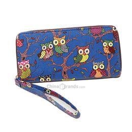 Wholesale Patchwork Owl Bags - Women Purse New Groovy Cute Owl Pattern Mini Bag Blue