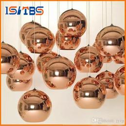 Wholesale Hotel Mirrors Wholesale - Full set LED Pendant Lamp Copper Sliver Shade Mirror Chandelier Light E27 Bulb Modern Christmas Chandeliers Glass Ball droplight