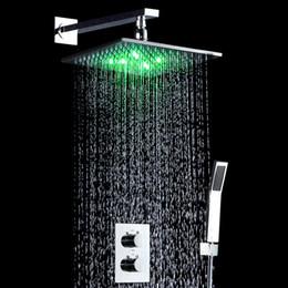 "Wholesale water saving head - 10"" LED Light Shower Mixer Set Thermostat Faucet Shower Bathroom Shower Head Powered by Water Square Saving Water Chromed Spout"