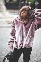 Wholesale long zip up hoodies - 2018 Women Purple Hoodies Sweatshirt Velvet Winter Warm Coral Casual Long Sleeve Zip Up Loose Pullover Hooded Sweatshirts