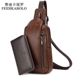 Wholesale Rucksack Leather - FEIDIKABOLO Brand Bag Men Chest Pack Vintage Rucksack Chest Bag Leather Travel Men Crossbody Bags Single Shoulder Strap Back Bag