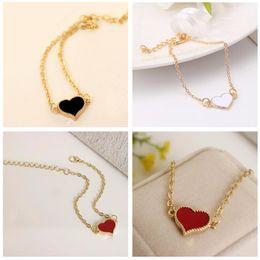 Wholesale Linked Charm Bracelets For Sale - Charming Red Love Heart Bracelets & Bangles For Women Girls Gold Color Metal Bracelets Hot Sale Statement Jewelry Wholesale