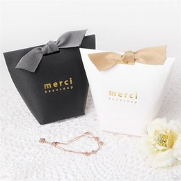 Wholesale paper food - Gift Box Exquisite French Thanks Merci Luxury Paper Bag Gilding Folding Candy Boxes For Wedding Favor Party Decor GGA459 1600PCS
