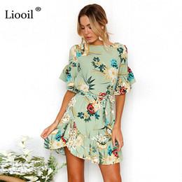 Wholesale drop waist dress l - Liooil Casual Floral Print Drop Waist Chiffon Mini Dresses 2018 Women Ruffle Sashes A Line Dress Boho Summer Beach Sundress