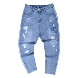2018 New Pattern Four Seasons Uomo Jeans alla caviglia Fashion Elastic Force Pantaloni Haren giapponesi Holes Jeans larghi da