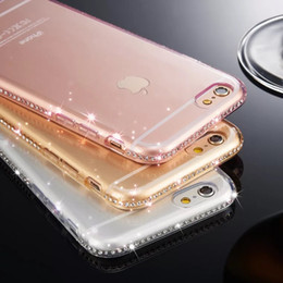 Wholesale Iphone Covers Rhinestones - women fashion Rhinestone phone case cover,high quality ultra thin transparent TPU soft case for iPhone 5 6 7 8 X