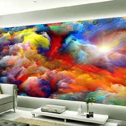 Wholesale Gallery Photos - Modern Abstract Art Colorful Clouds Oil Painting Photo Wallpaper Dining Room Gallery Creative Backdrop Wall Decor Papel Mural 3D