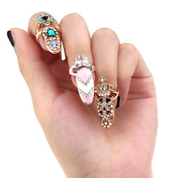 Wholesale Crown Ladies Rings - Hot Bowknot Nail Ring Charm Crown Flower Crystal Finger Nail Rings For Women Lady Rhinestone Fingernail Protective Fashion Jewelry