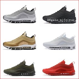Wholesale Rubber Walking Shoes - Best New Mens Sneakers Shoes Classic Air Cushion 97 Men Running Shoes Black White Trainer Breathable Man Walking Sports Shoes