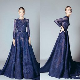 Wholesale Ellie Saab Evening Dresses - 2017 Ellie Saab Evening Dresses Navy Blue Ruffles Beaded Appliques Lace Prom Dress Long Sleeves Dubai Arabic Evening Gowns Vestidos