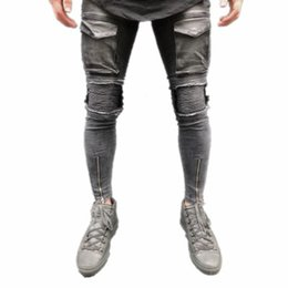 Wholesale ankle zipper skinny jeans - 2018 NEW Men Distressed Jeans Ripped Slim Fit Pencil Pants Resilience Skinny Ankle Zipper Male Pockets Pleated Denim Trousers