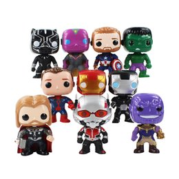 grandi cifre d'azione Sconti 10 pz / lotto Marvel Avengers Hulk Iron Man Capitan America Thanos Black Panther Thor Big Head Cute Doll PVC Action Figure Model Toy