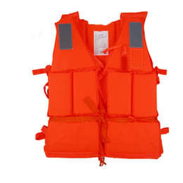 Nuotare i giubbotti per gli adulti online-New Orange Adult Life Vest Water Sports Buoy Foam Flotation Swimming Jacket With Whistle Hot Sale 9 8ya Ww