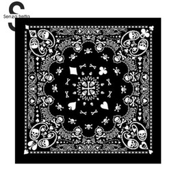 black headbands for men Promo Codes - Senza Fretta Cotton Skull Bandana Square Scarf Black Paisley Bicycle Headband Printed Scarf For Women Men Boys Girls DWW9353