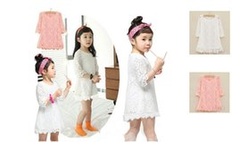 Wholesale Beautiful Dresses Children Party - 2018 New Kids Beautiful White Girls Toddler Baby Lace Princess Party Dresses Solid Party Brief Casual Dress Child Clothes Fashion B11