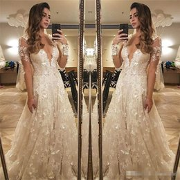 Wholesale Ling Dresses - Robe De Soiree Vintage Ivory Wedding Dresses Illusion Long Sleeves 2018 Sexy V-neck Hand-made 3D-Floral Flowers A Ling Bridal Gowns