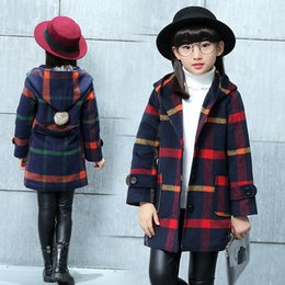 Wholesale boys wool jackets - 2017 Children Girl Winter Warm Coat Jacket Plaid Wool Hoodied Coats Jackets Kids Girls Thickening Outfits