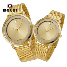 Wholesale Wholesale Gold Watches China - BELBI Lovers Watch Fashion Simple Japan Quartz Couple Wristwatches Ultra-thin Stainless Steel Strap Waterproof China Clock Brand