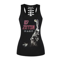 Wholesale Led Zeppelin Shirt Xl - Women Female Tank Top Sexy Black 3D Printed Vest Rock Style Led Zeppelin Camisole Hollow Out O Neck Sleeveless Shirts Tank Tops