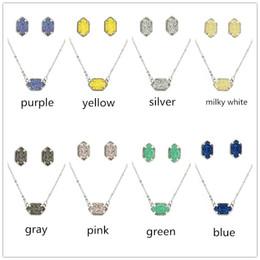 Серьги ожерелья оптового способа druzy ожерелья установленные серебряные покрынные овальные faux каменные ожерелья серьги ювелирные изделия комплект для женщин ювелирные изделия от