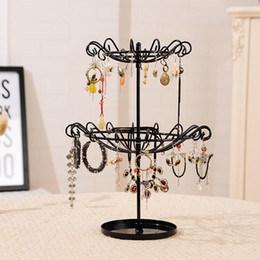 Wholesale Metal Hanger Stand - Juelee Rotating Jewelry Display Stand Necklace Bracelet Earrings Double Layer Hanger Holder Organizer Rack