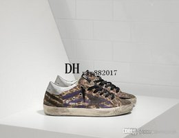 Wholesale Fashoin Shoes - New Fashoin Flat GGDB Leopard Leather with Black Star Handmade Do the old Dirty Shoes Mens Women Italy style Genuine leather Casual Sneakers