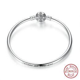2019 gravure en bracelet 925 100% 925 Sterling Silver Engrave flocon de neige fermoir Unique en tant que vous êtes chaîne de serpent Bracelet Bracelet bricolage charme bijoux promotion gravure en bracelet 925