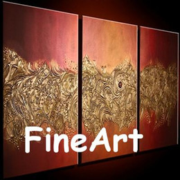 Unico colore arancione online-dipinto a mano olio moderno 3 pezzi dipinti arancione tela pittura brillante colore trama pittura opere d'arte natura pittura astratta regali unici