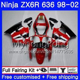 Carena per kawasaki red ninja zx6r online-ZX-6R per KAWASAKI NINJA Factory rosso ZX-636 ZX636 ZX6R 98 99 00 01 02 212HM.26 ZX600 600CC ZX 6R 636 6 R 1998 1999 2000 2001 2002 Carena