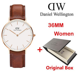 Wholesale rose gold white leather watch - High quality Luxury Brand Women watch D&W Men Watch Quartz Lovers' Watches Leather Rose Gold Wrist Watch Male Clock female Ladies watches