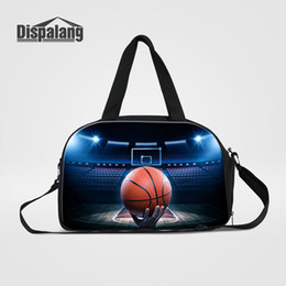 Wholesale Printed Canvas Duffel Bag - 3D Printing Basketball Travel Duffel Bags Soccer Men's Overnight Sport Bag With Shoes Pocket Football Male Clothes Duffle Hand Luggage Bags