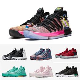 Tante perle sneakers online-(Mit Kasten) Großhandelsneue KD10 Oreo Kevin Durant noch KD Tante Pearl Finals, was die OREO Männer Basketballschuh-Sportturnschuhe Größe 7-12