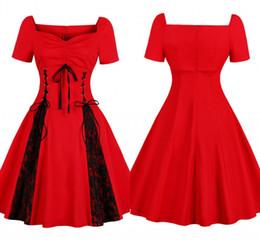 fcca586a8403 Vintage Rouge Casual Party Dress Womens Lace Swing Cou Cou À Manches  Courtes Robes de femme Robe De Noël De Vacances FS6150 robe à basse pas cher