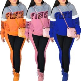 Wholesale Hood Panel - PINK Letter Women Victoria Sports Suits Pants Hoodie Hood Spring Print Pullover Tops Sweatshirts Trousers Leggings Tracksuits S-XXXL 4 Color