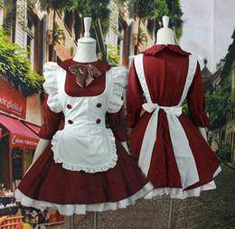 Cosplay costume maid japonês on-line-Mulheres Borgonha lolita empregada vestidos trajes de empregada doméstica japonesa linda cosplay para menina