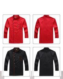 camisas de bolso duplo homens Desconto Bolso dobro-breasted da roupa uniforme total do hotel do avental da camisa do cozinheiro chefe dos homens