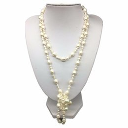 Wholesale long cultured pearl necklaces - Wholesales designer 120cm long natural 3-4mm 7-8mm white freshwater cultured pearl necklace fashion jewelry