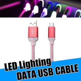 Мода светодиодные мобильный телефон кабель 1 м 3ft Micro USB Тип C высокая скорость быстрой зарядки синхронизации данных кабели для Samsung Примечание 9 HUAWEI от