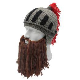 Wholesale Red Beard Man - Handmade Barbarian Male Camping Climbing Tassel Roman Knight Knit Helmet Men's Caps Handmade Winter Warm Beard Funny Hats W3