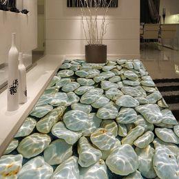 2019 malerei wandfliesen Fototapete Moderne 3D Pebbles Wasser Wellen Boden Fliesen Malerei Wandbilder Aufkleber Wohnzimmer PVC Wasserdichte Abnutzung Tapeten 3 D günstig malerei wandfliesen